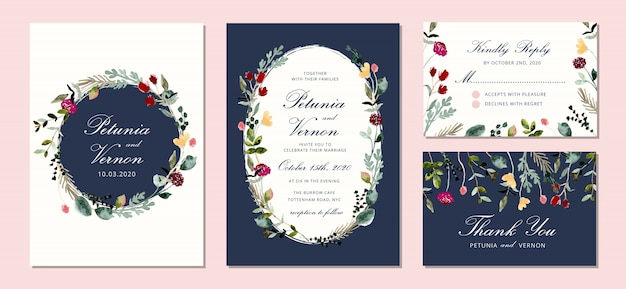 Wedding invitation set with beautiful watercolor floral frame