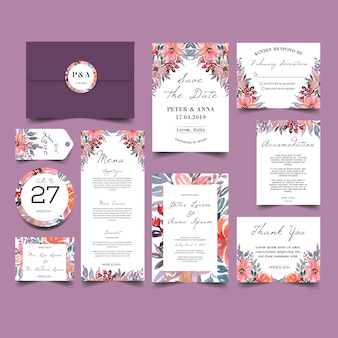 Wedding invitation set with beauty watercolor flower