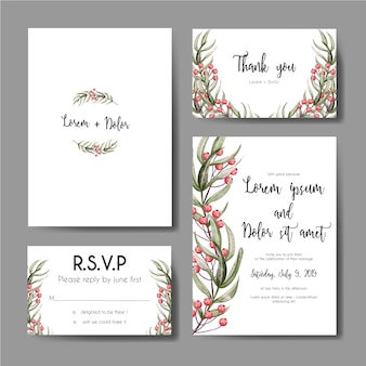 Wedding invitation set with berry leaves floral watercolor