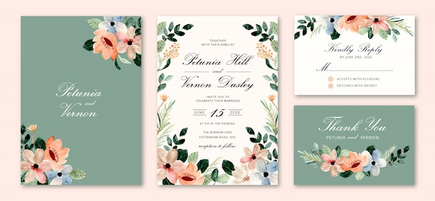 Wedding invitation set with blossom floral watercolor