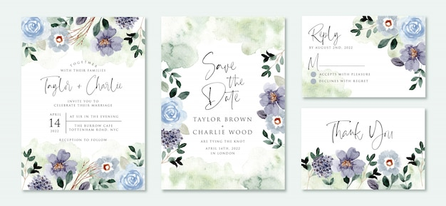 Wedding invitation set with blue green flower garden watercolor