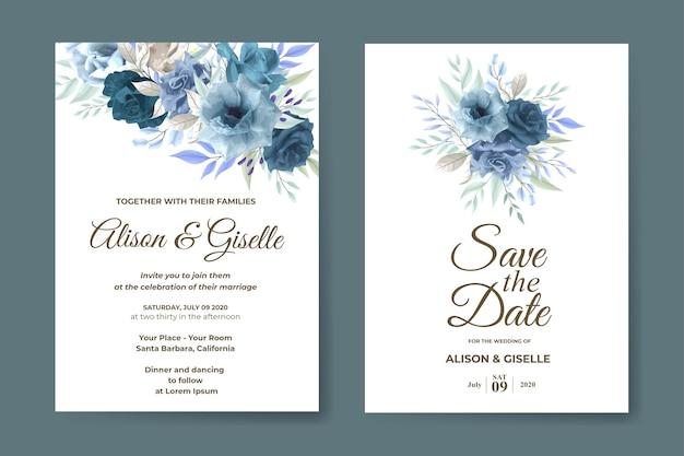 青い柔らかいバラの花で設定された結婚式の招待状