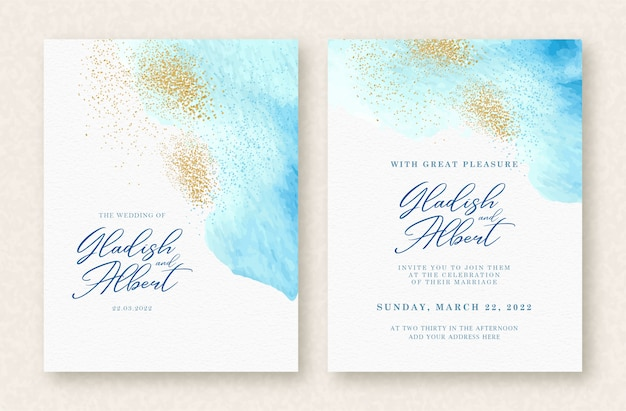 Wedding invitation set with blue splash and gold sparkle background