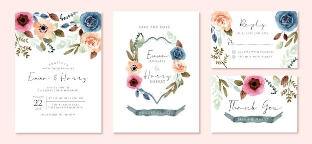 カラフルな花の水彩画で設定された結婚式の招待状