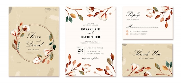Wedding invitation set with cotton flowers
