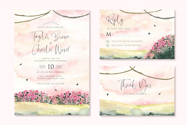 Wedding invitation set with dreamy pink garden watercolor landscape