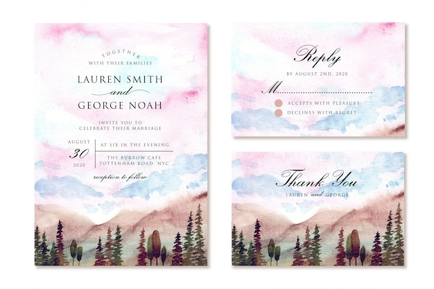 Wedding invitation set with dreamy sky and mountain watercolor landscape