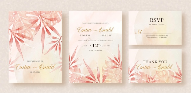 Wedding invitation set with exotic leaves watercolor background