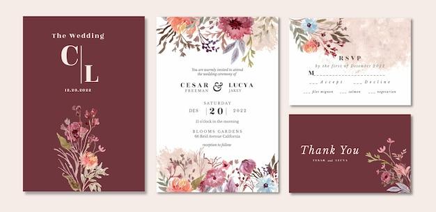 花と葉の水彩画で設定された結婚式の招待状