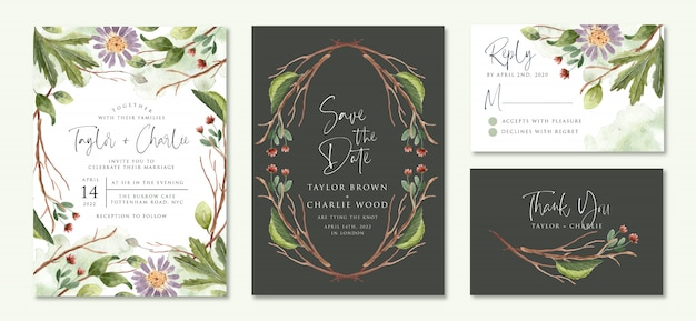 Wedding invitation set with floral branches watercolor