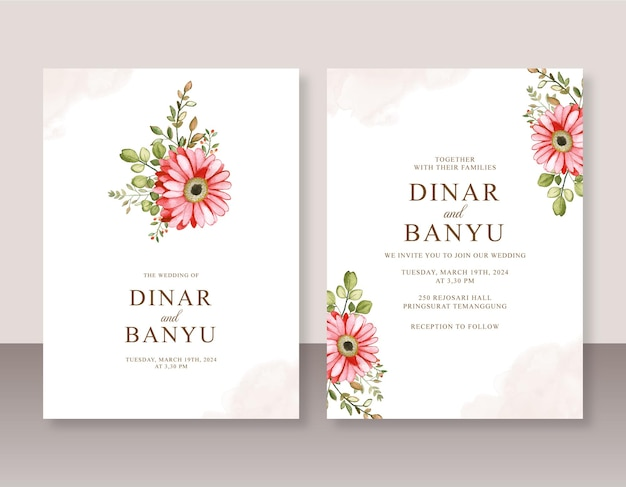 꽃 수채화와 결혼식 초대장 세트