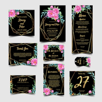 Wedding invitation set with floral watercolor