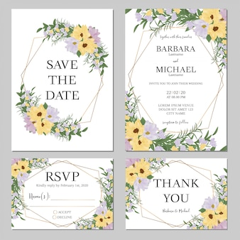 Wedding invitation set with flower bouquet