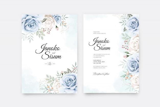 Wedding invitation set with flowers and leaves aquarel