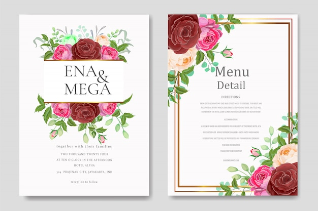 Wedding invitation set with flowers leaves