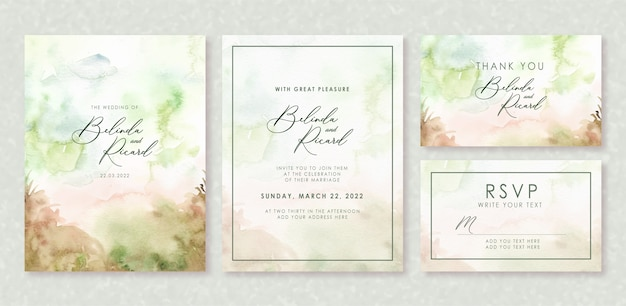 Wedding invitation set with forest concept watercolor
