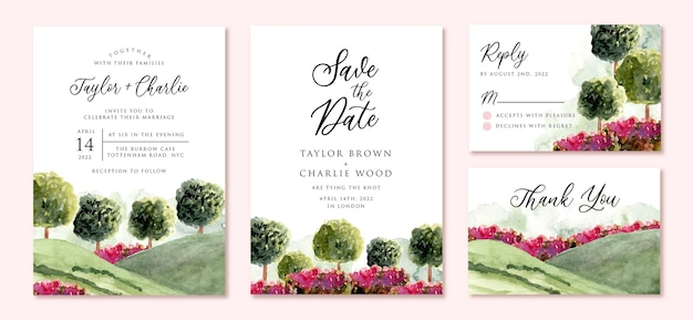 Wedding invitation set with garden landscape watercolor