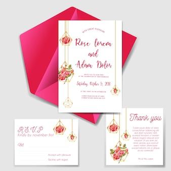 Wedding invitation set with geometric love rose red