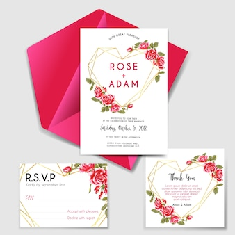 Wedding invitation set with geometric love rose red