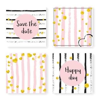 반짝이 색종이 조각과 줄무늬가 있는 청첩장. 검은색과 분홍색 배경에 골드 하트와 점입니다. 파티, 이벤트, 브라이덜 샤워를 위한 청첩장 세트로 디자인하고 날짜 카드를 저장합니다.
