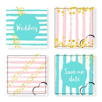 キラキラ紙吹雪とストライプの結婚式の招待状セット。ピンクとミントの背景にゴールドのハートとドット。パーティー、イベント、ブライダルシャワーの結婚式の招待状を設定してデザインし、日付カードを保存します。