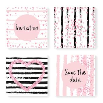 キラキラ紙吹雪とストライプの結婚式の招待状セット。黒とピンクの背景にピンクのハートとドット。パーティー、イベント、ブライダルシャワーの結婚式の招待状が設定されたテンプレート、日付カードを保存します。