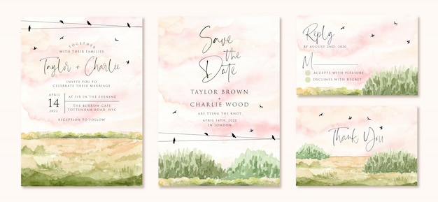 Wedding invitation set with green field watercolor landscape