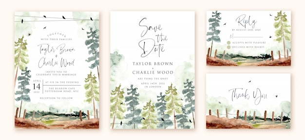 Wedding invitation set with green forest landscape watercolor