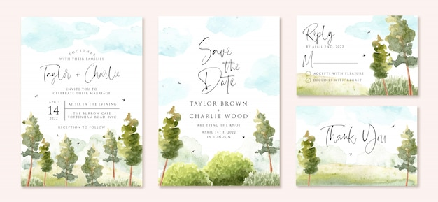 Wedding invitation set with green landscape and blue sky watercolor
