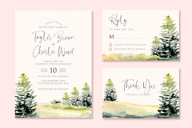 Wedding invitation set with green landscape hill and tree watercolor