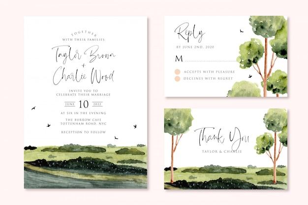 Свадебное приглашение с зеленой пейзажной акварелью