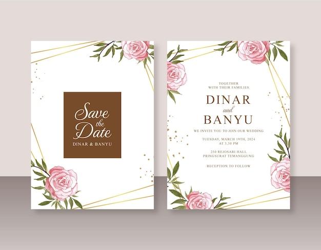 手描きの水彩画で設定された結婚式の招待状