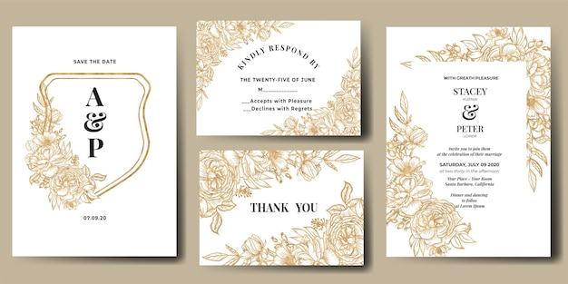 Wedding invitation set with line art flower gold