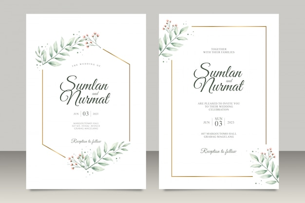 Wedding invitation set with modern leaves watercolor