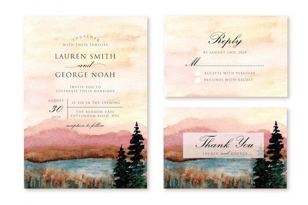 Wedding invitation set with mountain and lake landscape watercolor