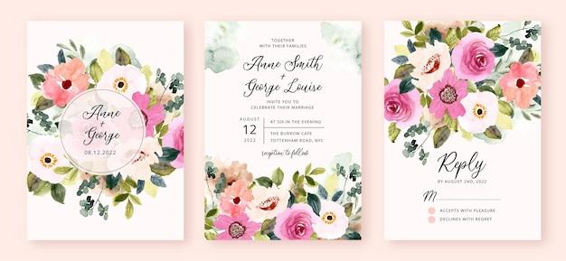 Wedding invitation set with pink flower garden watercolor Premium Vector