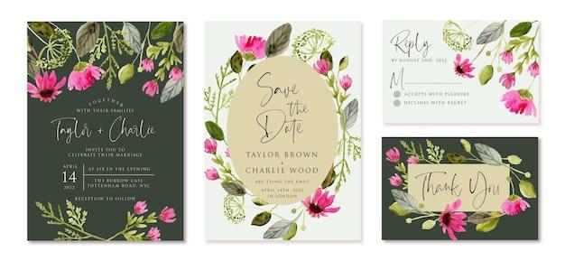 ピンクの緑の花の水彩画で設定された結婚式の招待状