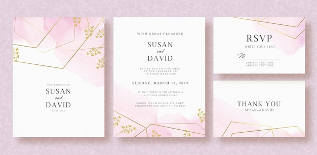Wedding invitation set with pink splash watercolor background