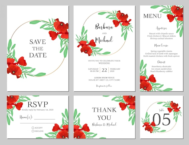 Wedding invitation set with poppy flower