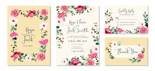 Wedding invitation set with pretty flower frame watercolor
