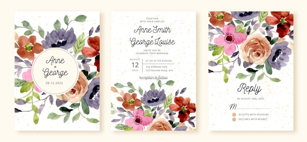 きれいな花の水彩画で設定された結婚式の招待状