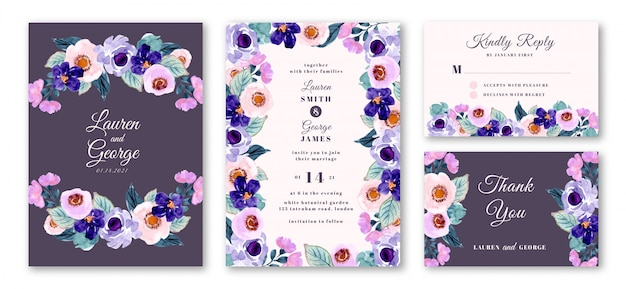 Wedding invitation set with purple floral watercolor