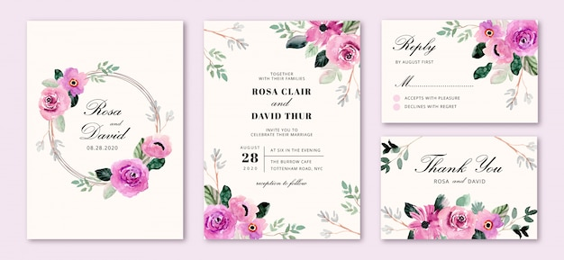 Wedding invitation set with purple flower frame watercolor