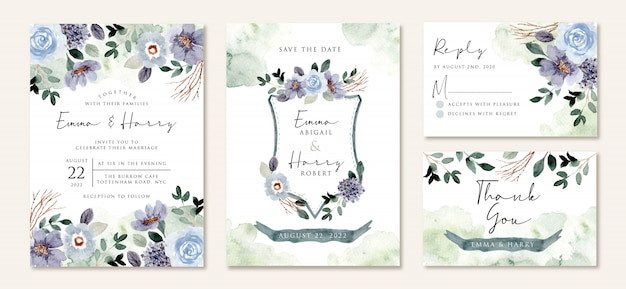 Wedding invitation set with rustic blue green floral watercolor