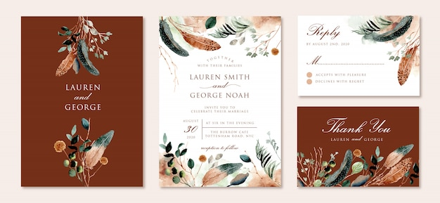 Wedding invitation set with rustic feather and foliage watercolor