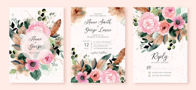 Wedding invitation set with rustic flower and feather watercolor