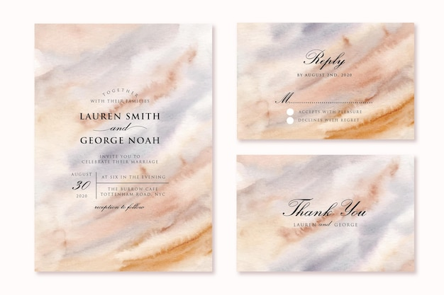 Wedding invitation set with soft abstract watercolor background