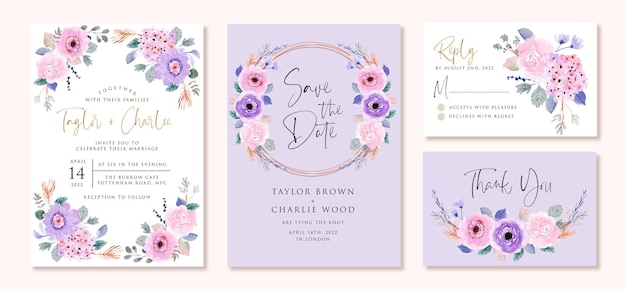 Wedding invitation set with soft purple pink floral watercolor