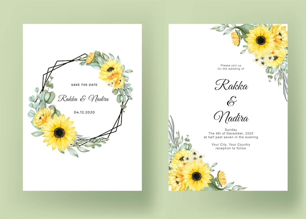 Wedding invitation set with sunflowers