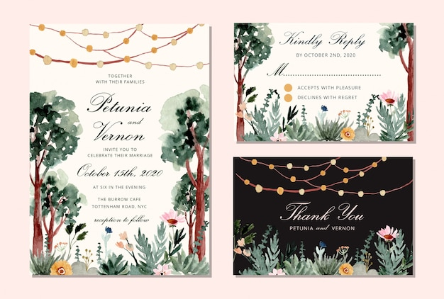Wedding invitation set with tree and string light watercolor background